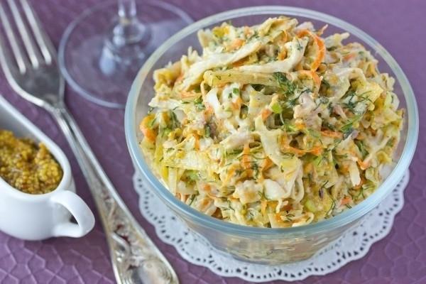 рецепты салатов с омлетом и курицей рецепт с фото