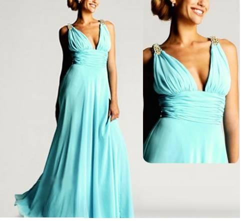 Платье длинное бирюзового цвета