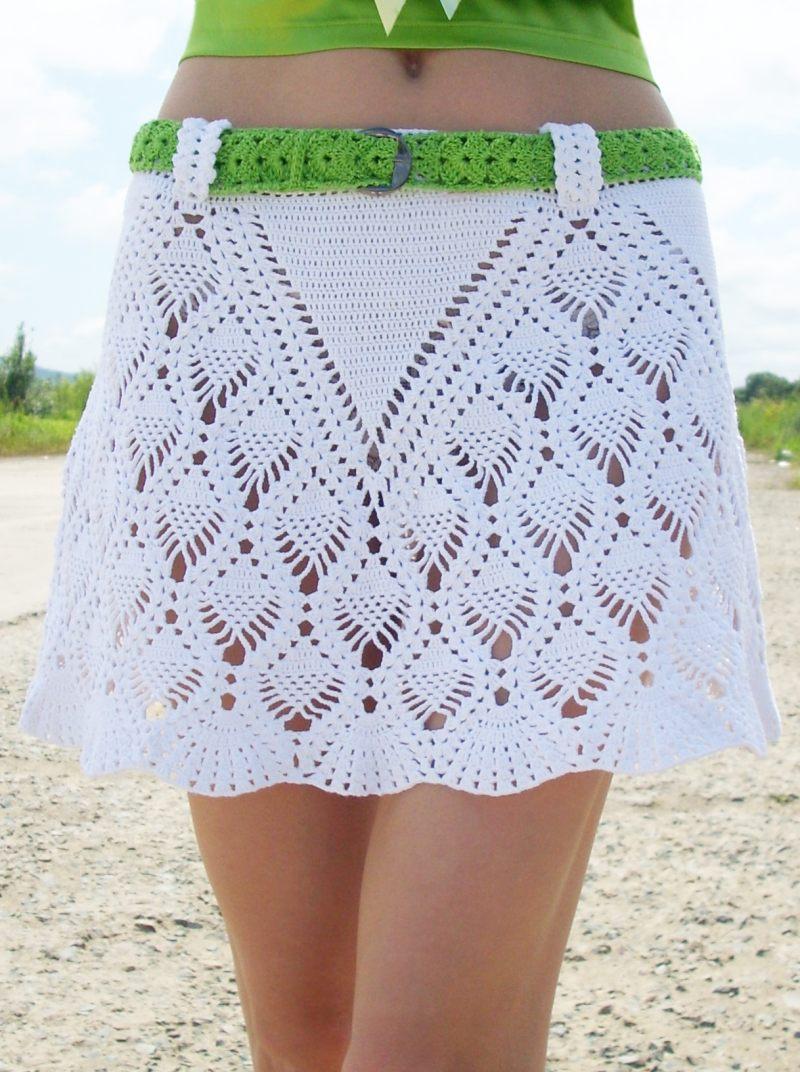 Вязаная юбка крючком на резинке