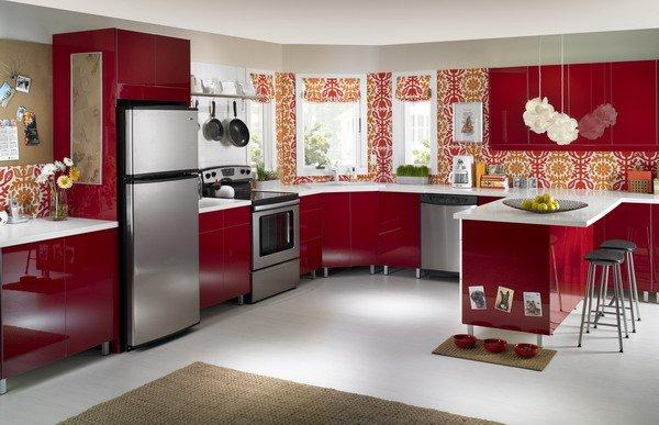 Кухни красного цвета фото в интерьере