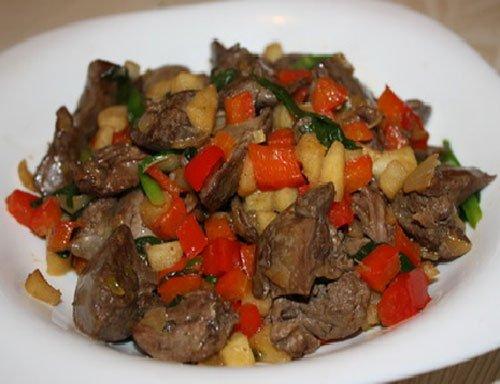 Рецепт желудочков куриных в сметане с луком и морковью