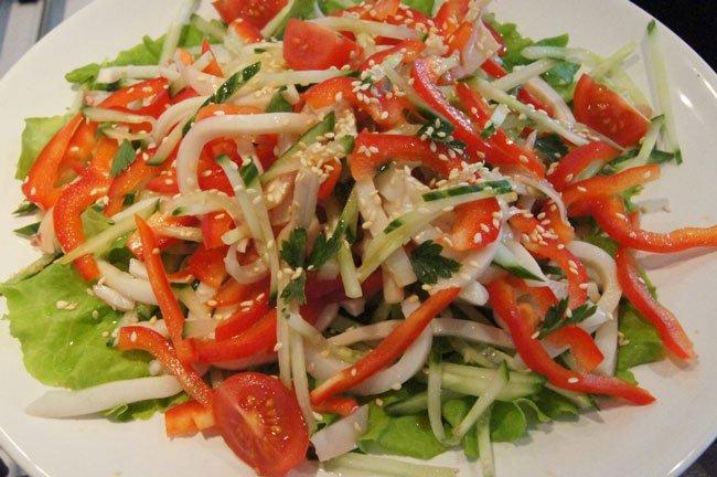 рецепты быстрых салатов из кальмаров