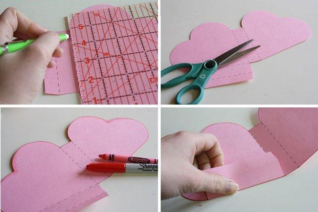 Как из бумаги сделать коробочку сердце