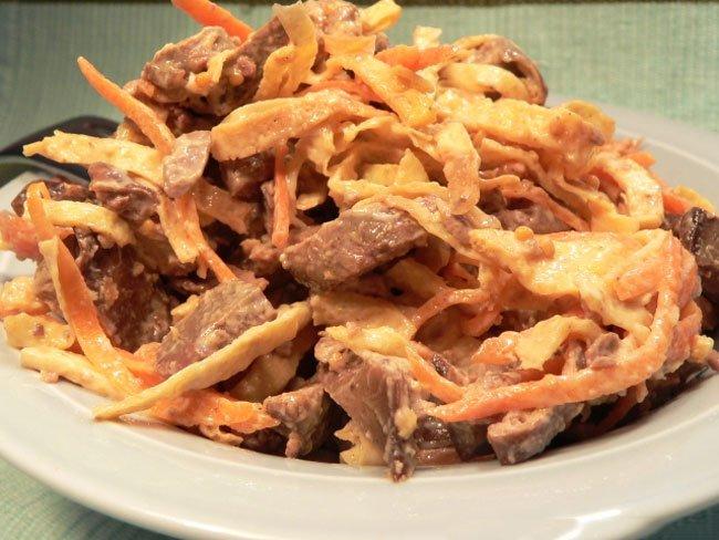 рецепты салатов из куриной печени