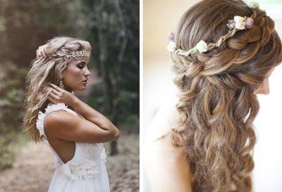Кудри с цветами в волосах