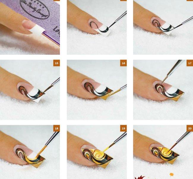 Кистью рисунок на ногтях в домашних условиях