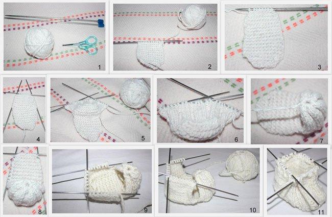 Вязания спицами пинеток с пошаговой инструкцией