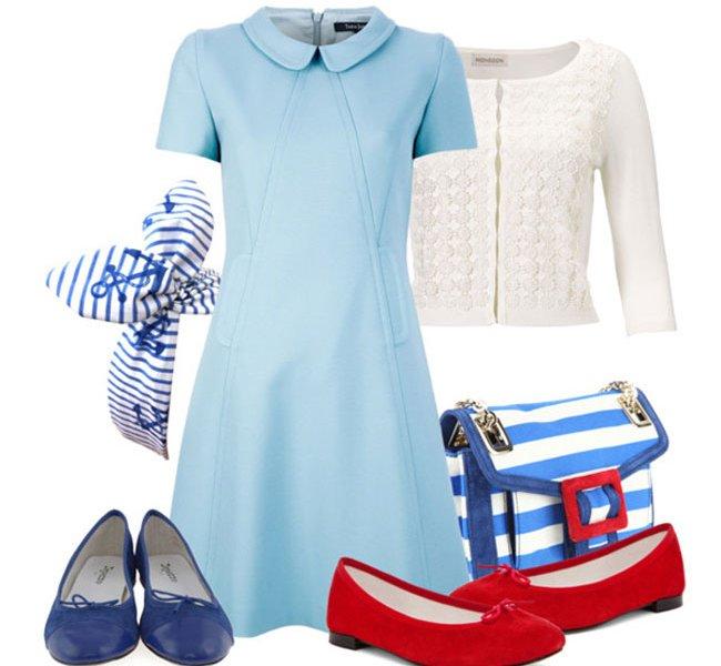 Голубое платье аксессуары фото