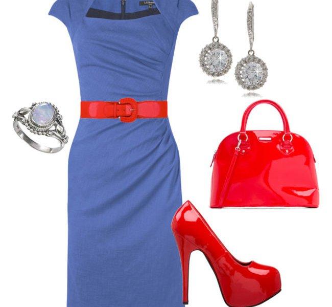 Синее платье с аксессуарами