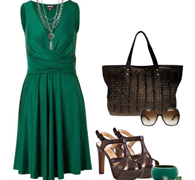 Какие аксессуары к зеленому платью