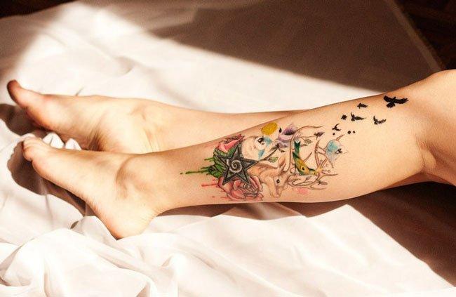 Интересные татуировки на ноге фото