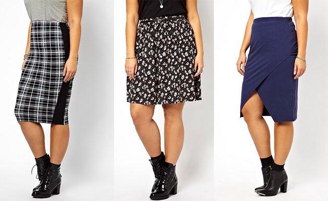 Прямые юбки модели для полных женщин