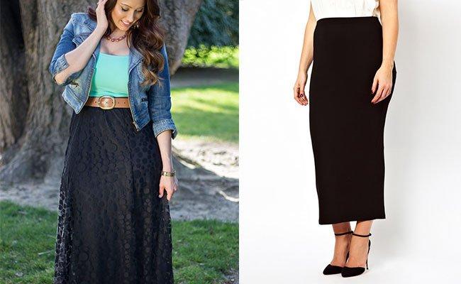 Прямые длинные юбки для полных фото