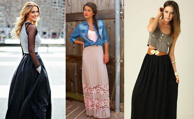 Широкие юбки в пол с чем носить