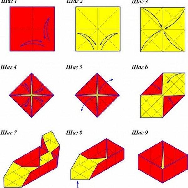 Схемы сборки оригами из бумаги