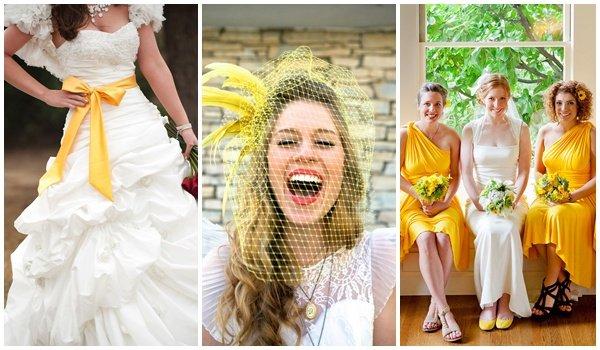 Платье белое с желтым поясом