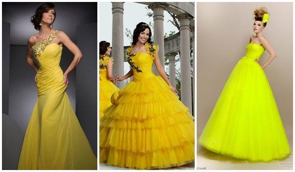 Желтый цвет на свадебном платье