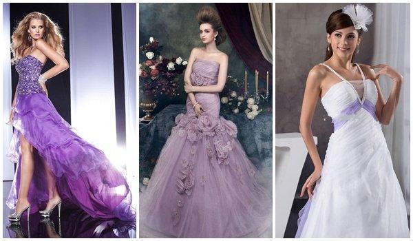 Свадебные лиловые платья