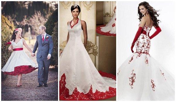 Не менее эффектно смотрятся белые платья с красными деталями. Это может быть пояс, крупный цветок на лифе или в прическе, фата, шлейф или даже плащ