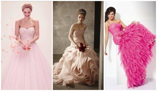 Если вы хотите яркий и запоминающийся образ, то подберите себе розовое свадебное платье. Классический силуэт - «принцесса» с пышной многослойной юбкой