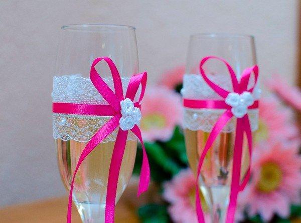 Как сделать бокалы на свадьбу своими руками фото