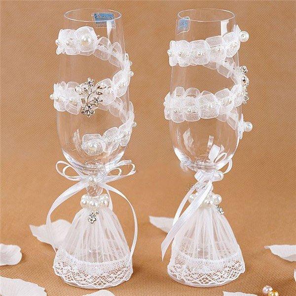 Как украсить свадебные бокалы своими руками фото