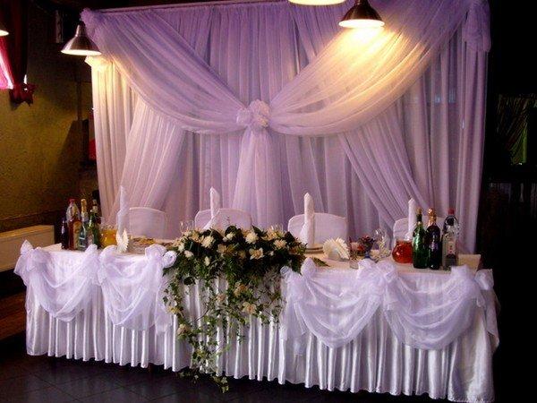 столов свадебных фото тканью украшение