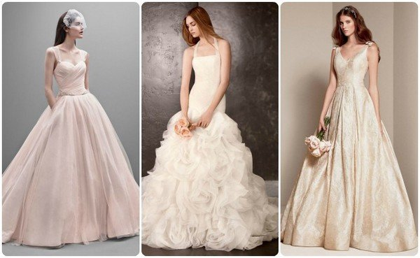Фото свадебного платья кремового цвета