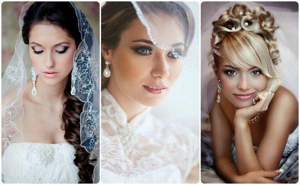 прически свадебные собранные волосы с фатой