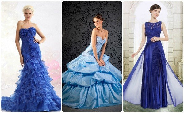 Фото синих свадебных платьев