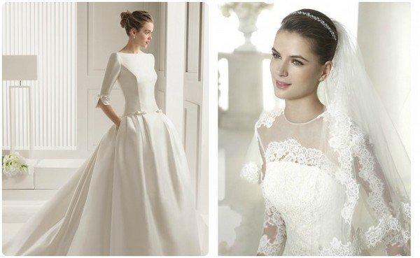 Свадебное платье закрытый верх фото