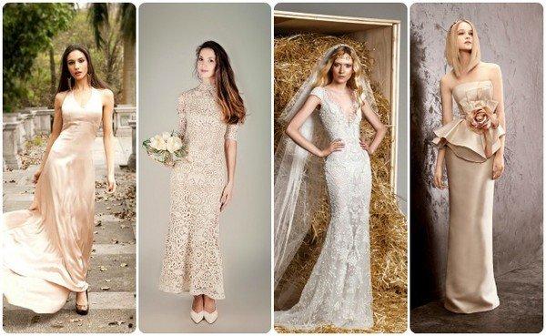 Свадебное платье белое с бежевым