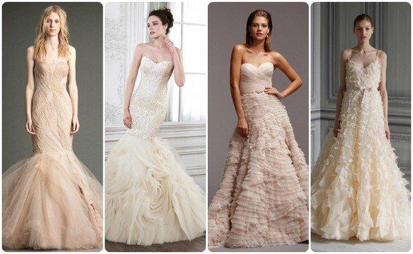 Платья на свадьбу бежевого цвета