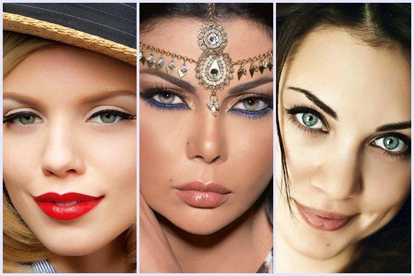 Свадебный макияж на зеленые глаза до и