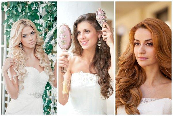Свадебные прически на средние волосы на распущенные волосы