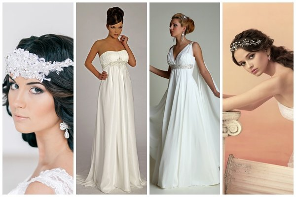 Свадебная прическа к платью в греческом стиле
