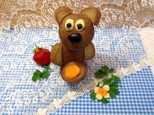 Медведь поделка из картошки