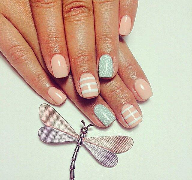 Гель-лак дизайн на короткие ногти светлые