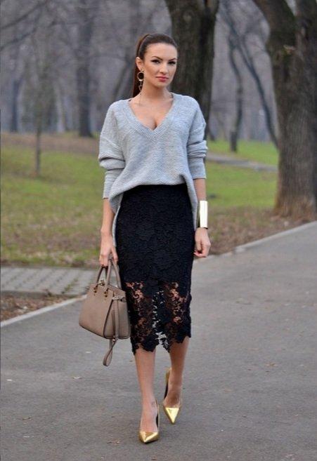 С чем носить юбку из кружева