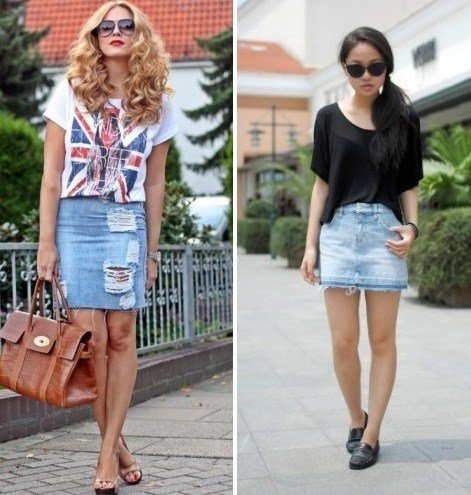 Джинсовая юбка как носить