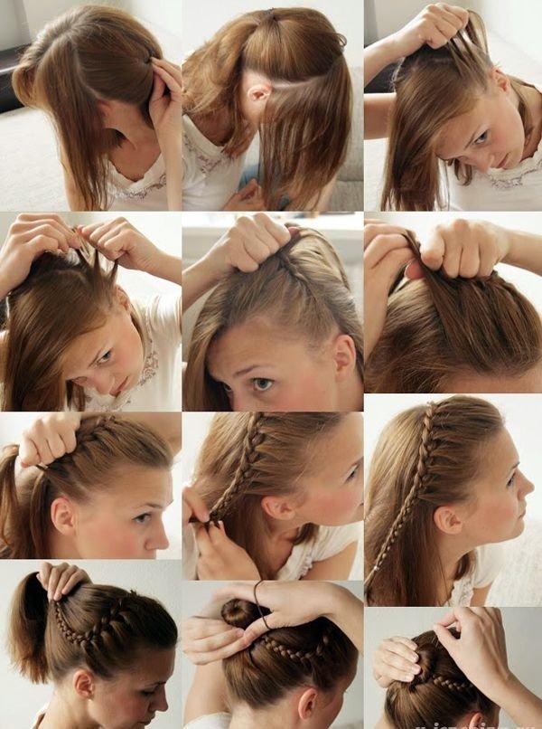 Прически для средней длины волос своими руками 58