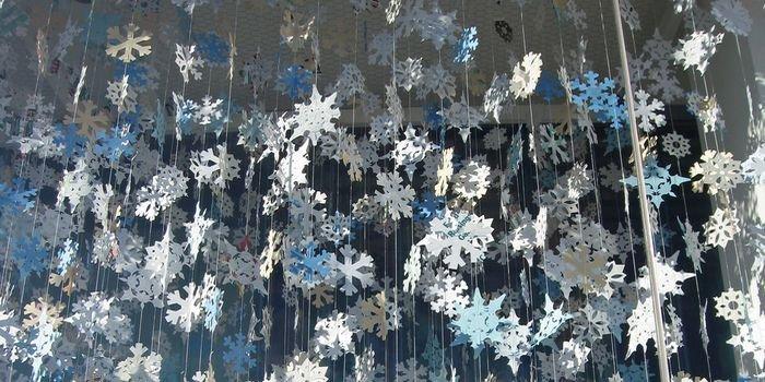 Объемные снежинки из полосок  схемы шаблоны 89