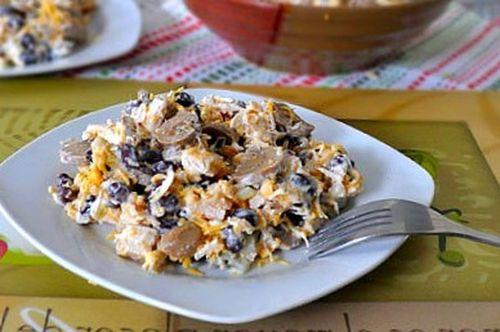 Салат с курицей и фасолью рецепт с фото