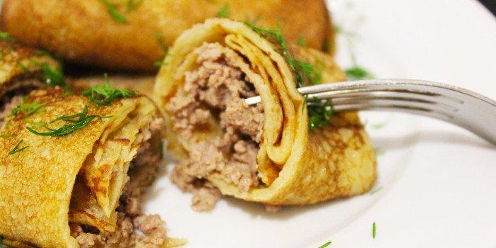 блинчики с мясом и рисом рецепт с фото пошагово