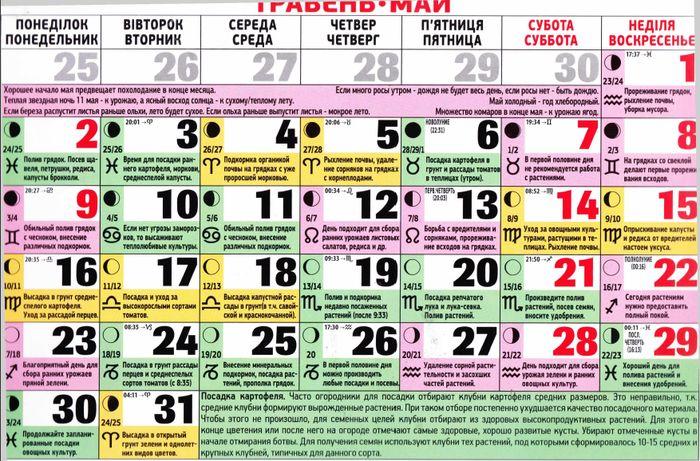 лунный календарь на 2016 год май выпускаемое применением этих