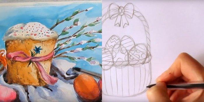Как нарисовать открытку с пасхой