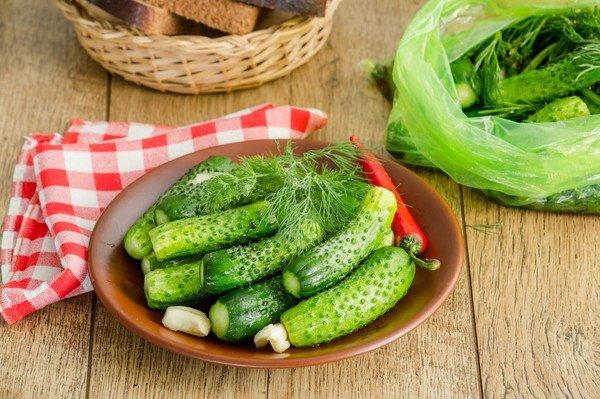 Рецепт приготовления огурцов в пакете