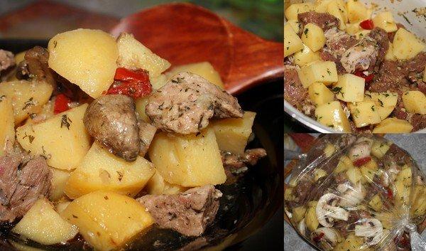 рецепт из свинины картофеля и грибов в духовке