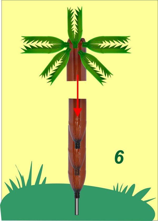 Как сделать пальму из бутылок