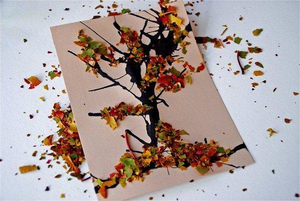 фото поделки из листьев на тему осень
